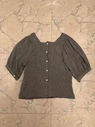 Check square beck puff sleeve top 格子方領泡泡袖上衣