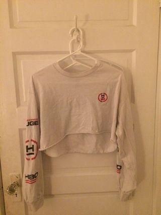 White cropped print long sleeve
