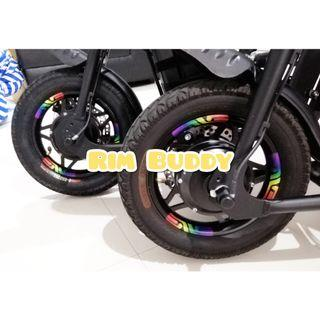 """12"""" Custom Printed Reflective Rim Stickers for DYU, Fiido, Tempo, AM PMD and scooters"""
