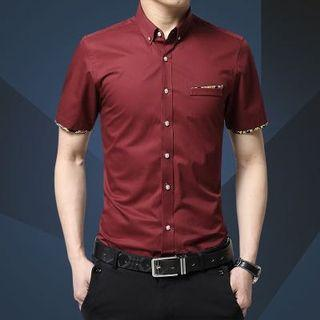 Korean Stylish Slim Cut Design Red Shirt Floral