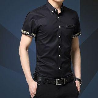 Korean Stylish Slim Cut Design Shirt Black Floral