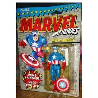 絕版 懷舊 1990年 Toybiz Marvel Super Heroes Captain America w/ Shield Launcher action figure 1款