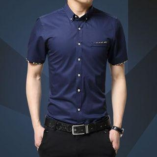 Korean Stylish Slim Cut Design Shirt Blue Floral
