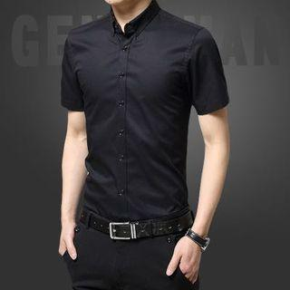 Korean Stylish Slim Cut Design Black Shirt