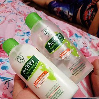 Take all Acnes milk cleanser and toner