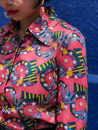 Vintage 1970s trippy zebra print shirt blouse TOP