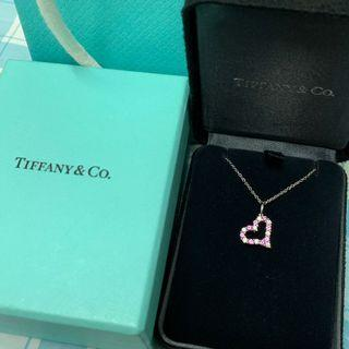 Tiffany 18k白金 鑽石粉紅藍寶石頸鏈 頸鍊