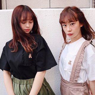 🧸日系🧸小熊刺繡前袋Tee恤上衣 Japan ruffle trimmed front pocket tee shirt top black tee white tee red tee off white tee purple tee