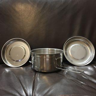4 Piece Stainless Steel Mess Tin Cooking Set 1 Pot 2 Plates Cum Food Storage Container 14cm Diameter Outfield Camping #EndgameYourExcess