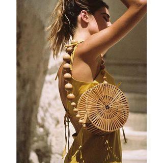 Round Trendy Handmade Bamboo Shoulder Bag