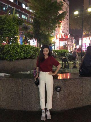 🚚 韓妞紅色針織短袖上衣