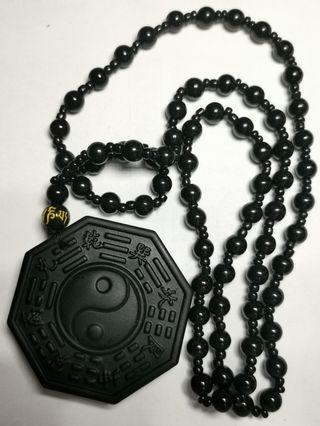 Black Obsidian BaGua Necklace 黑曜石