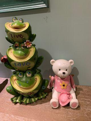 青蛙 鄉村風 擺飾 撲滿 + 粉紅熊