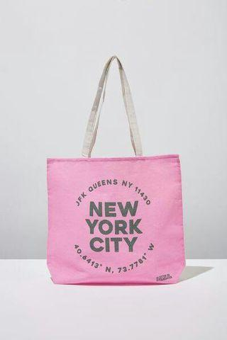 New! Cotton On Tote Bag New York Pink