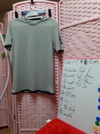 Adidas 運動上衣 排汗衣 短袖T裇 尺碼size M 可参考白板
