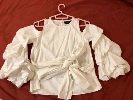 Double Woot White Cutout Top