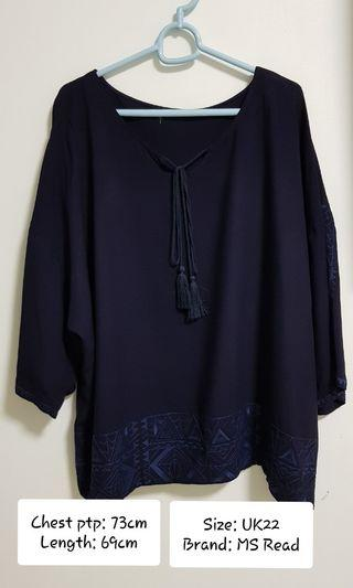Plus Size Navy Blue Top (PRELOVED)