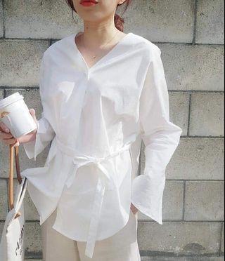韓國春款珍珠綁帶襯衫