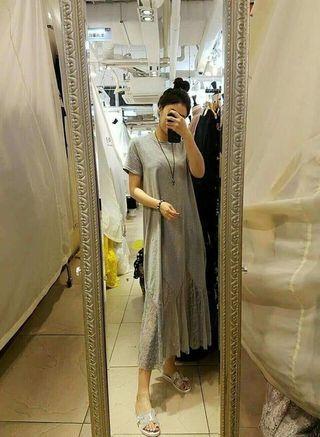 韓國製後蝴蝶下擺蕾絲長洋裝