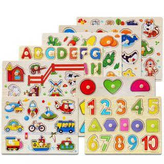 BN Baby Hand Grasp 3D Wooden Puzzles Toy Kids Educational Wooden Toys