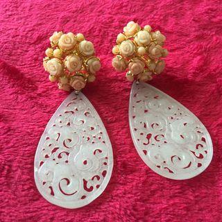 Coral flower earrings with white carved Jade