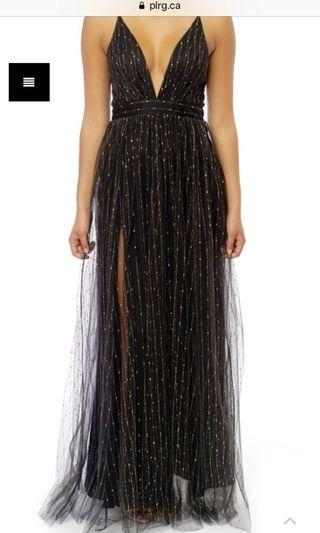 PLRG black and gold prom dress size small
