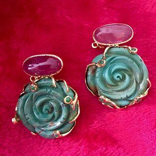 UNIQUE!!! Turquoise flower with Ruby earrings