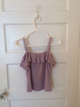 Purple frill off the shoulder tee