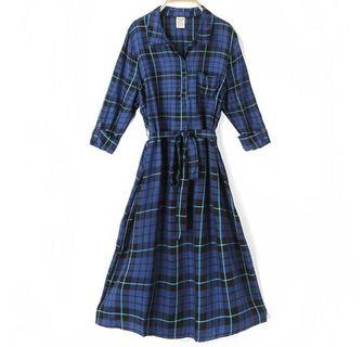 Brand new blue checker long dress in package