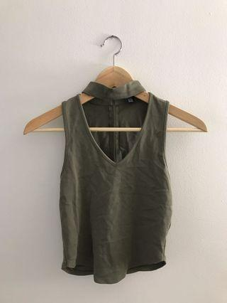 Cut-out Olive Green Crop Top