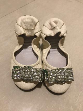Kid Girl Pazzion Beidge Leather Shoe 25
