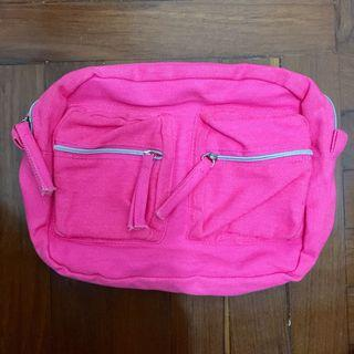 H&M,Pink,Canvas,Recycle,Reused,Small,Pouch,Bag,粉紅色,環保袋,布袋,化妝袋
