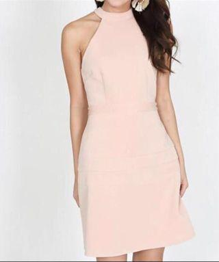 MDS nude hater neck dress