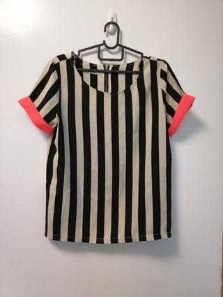 Striped top with neon trimming