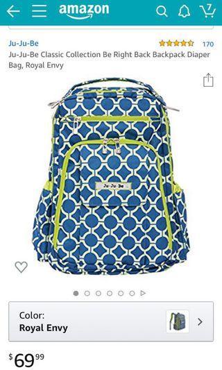 Ju-Ju-Be Classic Collection Be Right Back Backpack Diaper Bag, Royal Envy  Ju-Ju-Be Classic Collection Be Right Back Backpack Diaper Bag, Royal Envy