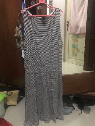 Hnm H&M midi dress bahan kaos stripe