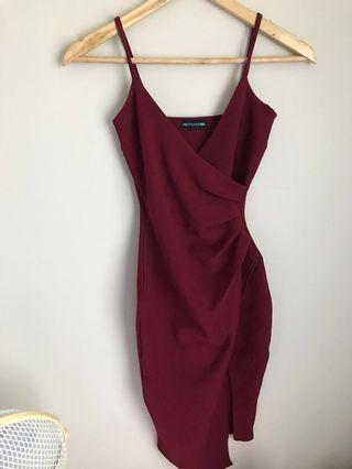 burgundy wrap midi dress