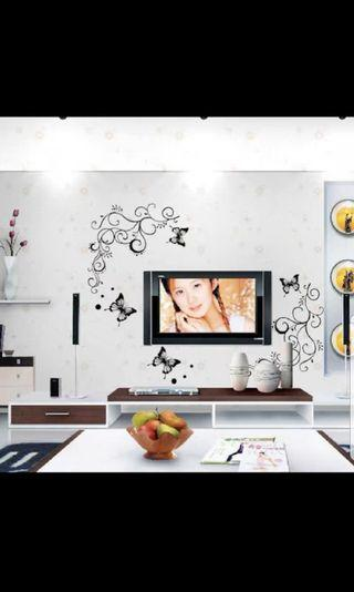 Fashion beautiful butterfly flowers vine wall stickers removable wall sticker home decoration