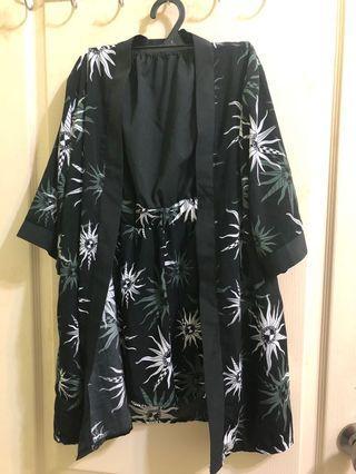 超好看兩件式平口套裝 太陽 黑色