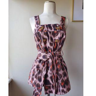 C/MEO COLLECTIVE Leopard Print Belted Top Sz 6 BNWT$190