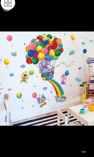 🎊10 Designs. $10 Each Cartoon colourful balloon animal wall  stickers children room kindergarten background wall decoration sticker baby bedroom diy home decor