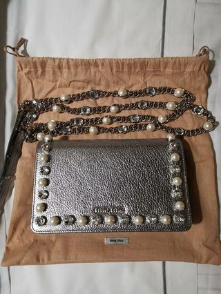 Authentic Brand New miu miu Crystal pearl bag