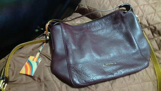 Paul Smith brown leather bag皮袋 包順豐
