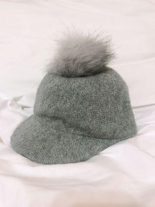 Cute grey Pom Pom hat