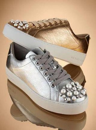 REPRICED Michael Kors Poppy Silver Sneakers