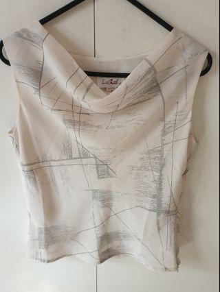 Cream/grey blouse