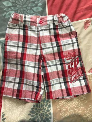 Boys red checkered Bermudas for 2 years old