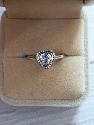 Sterling 925 Silver CZ Halo Heart Ring