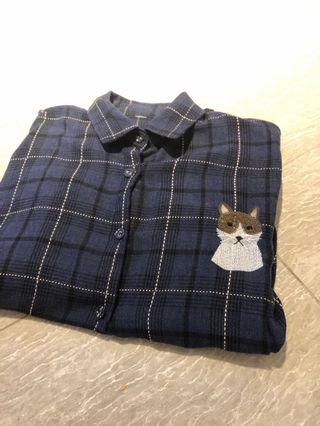 🚚 Fox embroidered flannel shirt