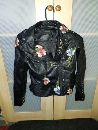 Black Faux Leather Embroidery Flower Jacket